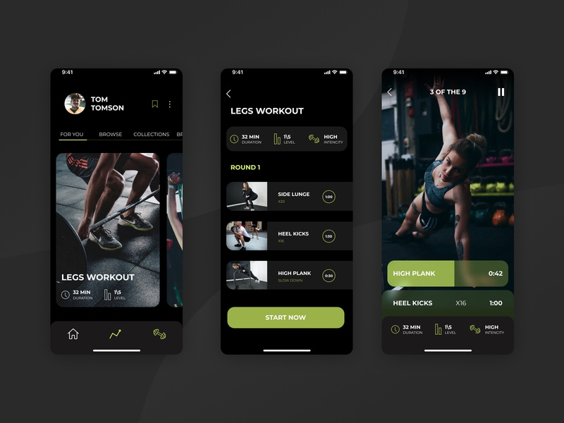 Dark Workout App dark theme ux ui tracker app plank health sport minimal ios interface gym app exercise design concept application app activity