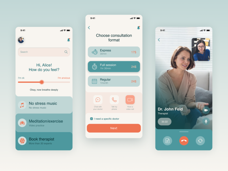 Psychology Mobile App application minimal medical mental health design studio experience user app adobe figma interface flat app concept meditation psychology ux ui
