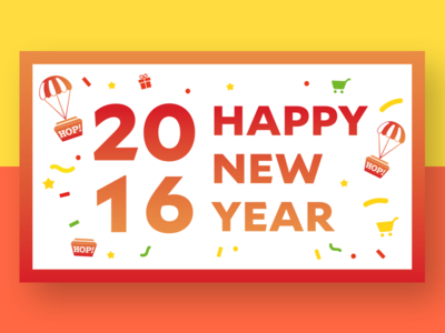 2016 New Year Greeting card happy new year presents gifts confetti festival hot air balloon shopping cart new year celebrate 2016 new year card giftcard
