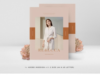 Rebecca Fashion Lookbook Catalog advertising branding lookbook fashion minimalist clean professional modern catalogue catalog magazine template print design printing printable print indesign adobe us lettter a4