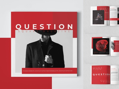 Question Square Magazine Template advertising branding lookbook fashion minimalist clean professional modern catalogue catalog magazine template print design printing printable print indesign adobe us lettter a4