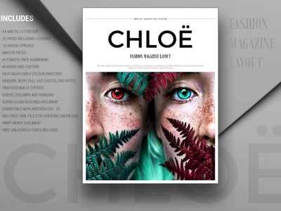CHLOË | FASHION MAGAZINE lookbook fashion editorial layout editorial portfolio photography minimalist clean professional modern catalog magazine template printable print indesign adobe usletter us letter a4