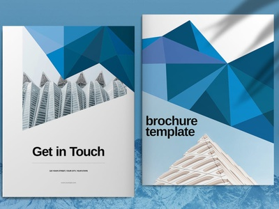 Blue Low Poly Brochure Template business catalog template brochure portfolio magazine business catalog brochure