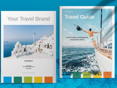 Blue Travel Guide Brochure Template business catalog template brochure portfolio magazine business catalog brochure