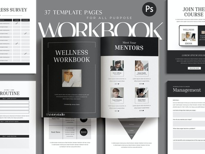 Wellness - Workbook Creator for Coach catalog blog ebook clean template printable marketing social media social free download ebook blog canva workshop print class online webinar course