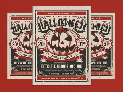 Halloween Party Flyer illustration design magazine template candy treat ghost scary poster template poster design posters poster print template print design printing print halloween flyer halloween party flyer party