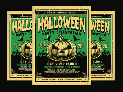 Halloween Party Flyer Retro pumpkin scary ghost template illustration design printable print poster design poster template posters poster vintage retro flyer template flyers flyer halloween flyer halloween party halloween