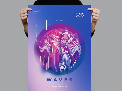Waves Flyer / Poster Template annual annual report lifestyle minimal editoral lookbook business catalog brochure minimalist professional graphic design illustration design indesign magazine catalog printable clean print template