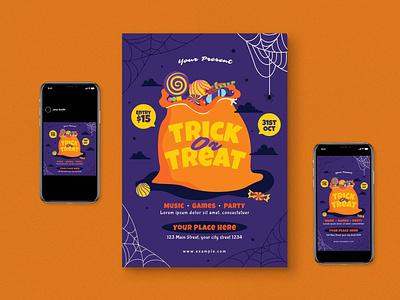Halloween Flyer Set illustration design indesign magazine catalog printable clean graphic design print nightmarre template ghost scary horror flyer set poster flyer halloween poster halloween flyer halloween