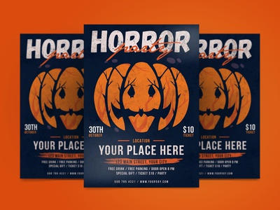 Horror Party Flyer illustration design indesign magazine catalog printable clean print treat trick thriller ghost scary graphic design template flyer post halloween post halloween flyer halloween horror