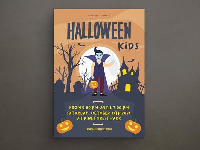 Halloween Party Flyer design indesign magazine catalog printable clean print template ghost october scary horror night pumpkin flyer set poster set flyer poster halloween flyer halloween party halloween