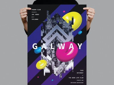Galway Poster / Flyer abstract geometric colorful club music illustration design indesign magazine catalog printable clean print graphic design template poster template flyer template poster flyer flyer poster