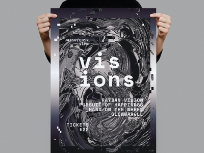 Visions Poster / Flyer elctornic house dj techno night club flyer poster summer night nightclub illustration design indesign magazine catalog printable clean print template poster flyer flyer poster