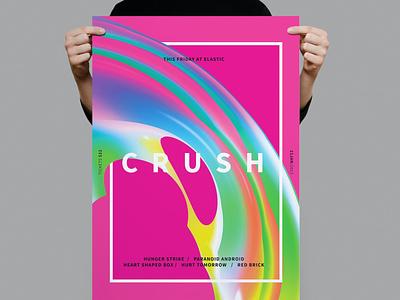 Crush Poster / Flyer hipster rainbow mesh bride electro techno dj music nightclub illustration design indesign magazine catalog printable clean print template flyer poster flyer
