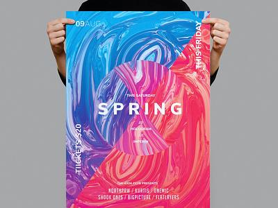 Spring Flyer / Poster Template illustration design indesign magazine catalog printable clean print dj music nightclub gradient simple modern minimal template flyer poster poster flyer spring