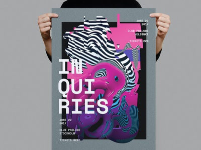 Inquiries Poster / Flyer glitch code electronic techno motion graphics illustration design indesign magazine catalog printable clean print graphic design template flyer template inquiries poster flyer poster inquiries