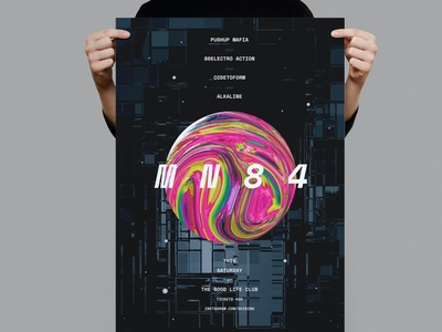 MN84 Poster / Flyer technical electro illustration design indesign magazine catalog printable clean print template gradient poster nightclub music dj gradient poster template flyer template flyer poster