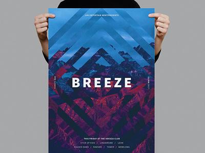 Breeze Poster / Flyer techno inspirational mountain illustration design indesign magazine catalog printable clean print clube nightclub dj music gradient template poster flyer flyer poster