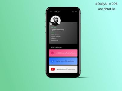 DailyUI :: 006 UserProfile userprofile dailyuichallenge dailyui daily 100 challenge daily ui minimal design ui