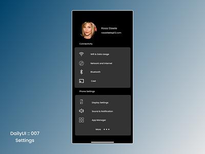 DailyUI :: 007 Settings settings ui dailyui daily 100 challenge daily ui minimal design ui