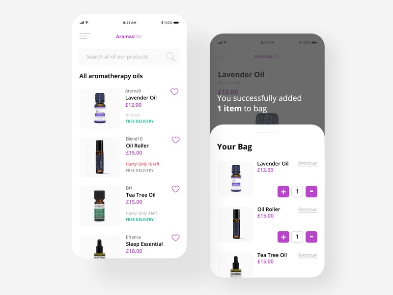 eCommerce aromatherapy app app website design website web design ux design ui design ui ux design