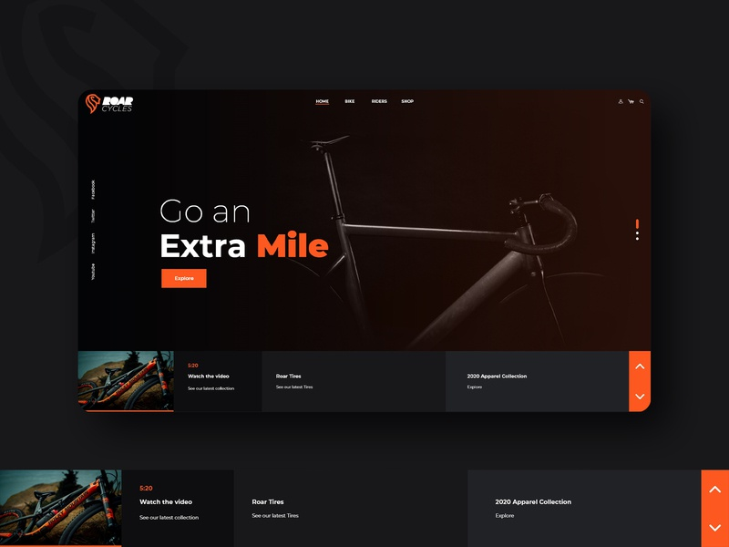 Roar Cycles - HomePage user experience user interface wireframe website design uiux ui roar online store e commerce cycles bikes app design