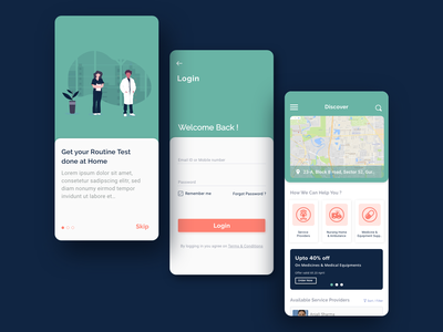 Medical Service At Home-Mobile App onboarding appointment doctor app mobile interface ux design ui design medical services at home service app medical app health care interfacedesign illustration ux mobile app creative appdevelopment app ui design