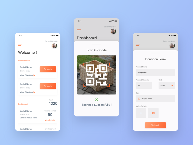 Donation app homepage form qr scan gradient donate basket charity app donation interfacedesign ux mobile app creative appdevelopment app ui design