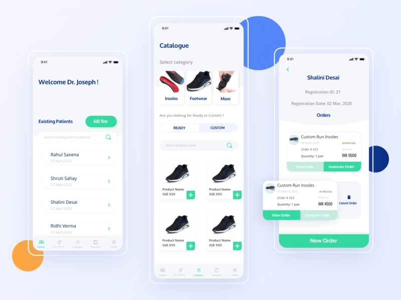 Comfort shoes app orders patient list ui patient list ui catalogue userinterfacedesign health app ecommerce app comfort footwear doctor app interfacedesign ux mobile app creative appdevelopment app ui design