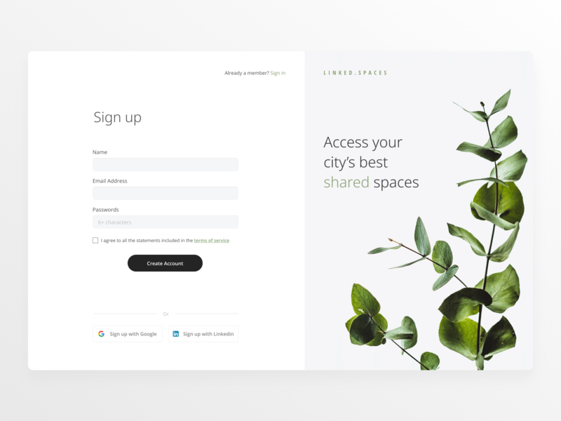 Daily UI #001 Linked Spaces Sign up cowork marketplace figma modal login page light signup login flat minimal web design ux ui daily 100 challenge challenge daily ui