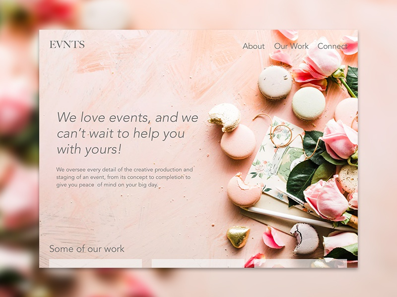 Evnts Website Design cards website desert flowers macaron events landing page homepage card