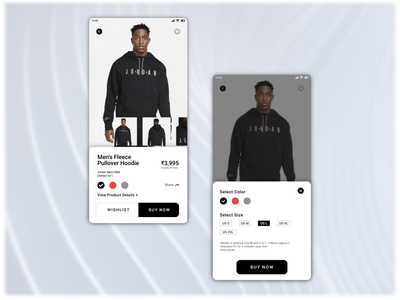 Product Page UI Design jordan nike shopping typography app ui app design app design concept ux uiux uidesign ui