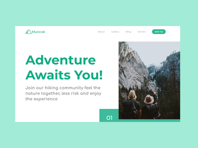 M U N C A K | Hiking community website landing page hiking dailyui landing page design landingpage adobe xd website concept webdesign design ui