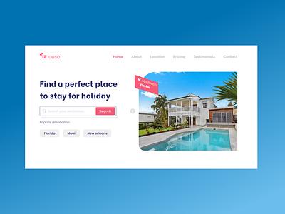Uhouse rent villa | Landing Page rent house dailyui landing page design landing page adobe xd website concept webdesign ui design