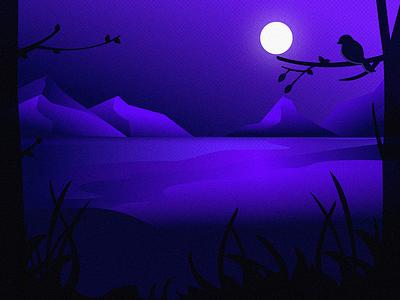 Magical Night forest night mobile illustration design illustration desktop background wallpaper night bird moon landscape