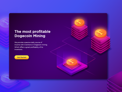 Dogecoin  Mining crypto illustration mining-dogecoin.com bitcoin game crypto currency gradient landing icon website