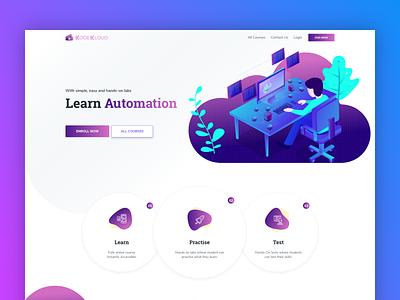 KodeKloud Academy ui education website gradient automation data illustration