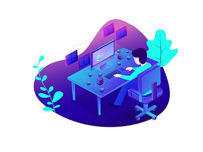 Illustration for KodeKloud data automation illustrator gradient ui  ux