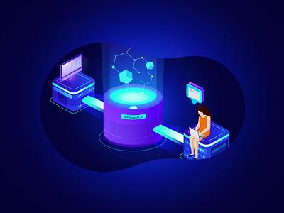 Supersmart AI (2) futuristic ui ux vector artificialintelligence webdesign wesite web illustration