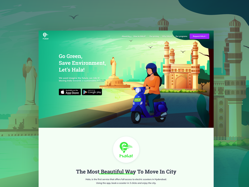 Landing page for Hala Mobility