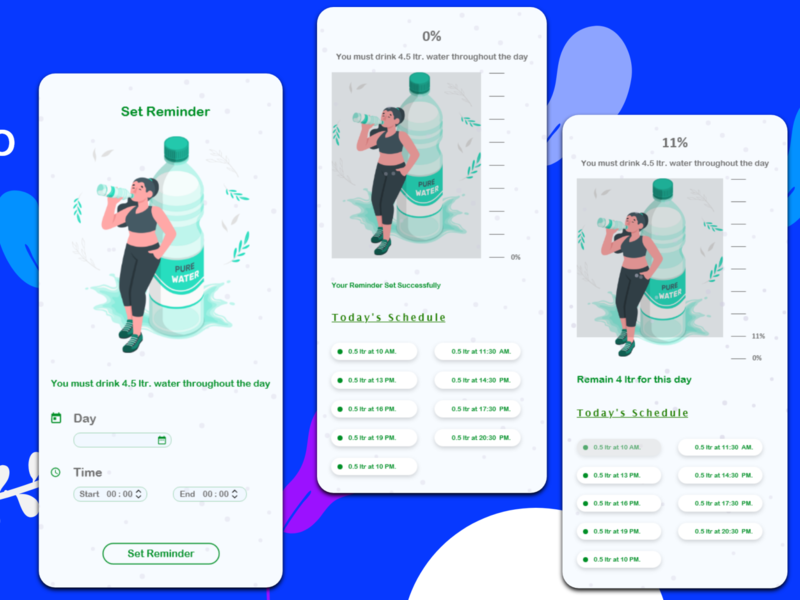 design for a app of reminder to drink water for proper hydrate app illustrator mobile ui web mobile app design illustration design website ux ui