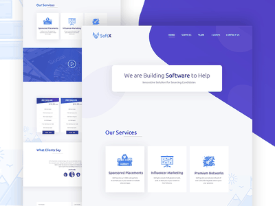 SoftX - Landing Page Design Concept google material agency webdesign designer materialdesign ios ux ui dribbble