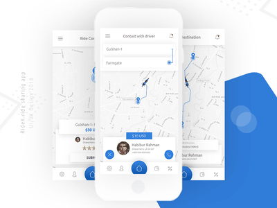 RideX - Ride Sharing Mobile App Concept Design ux design ui design design mobile app ux ui bike car uber ride sharing