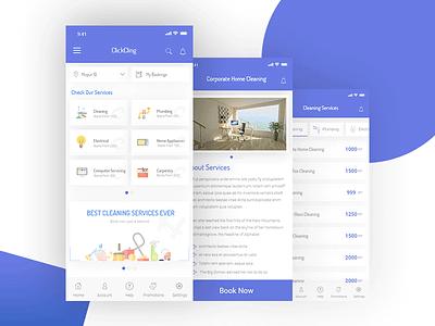 ClickCling - Home Service App Design Concept best app ui top app ui minimal color ui design design mobile app ux ui service home service