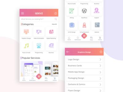 QDEVZ - Freelance Marketplace App Design Concept colourful app design mobile ui deisgn mobile ui mobile apps design app designer app design mobile ux ux design ui design template design ui ux