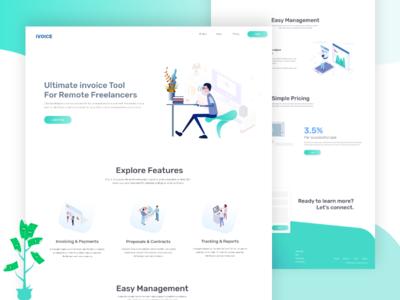 Online invoice for freelancer web app concept web template software landing page web ux web ui webdesign web landing page business ux design typography template ui design design ux