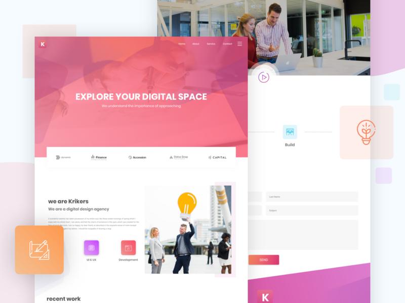 krikers - Agency Website Design Concept website website concept agency website agency webdesign corporate template business web ux design ui design design ui ux