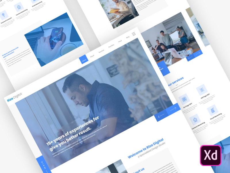 Riza - Digital Agency Home Page Design Free Download adobe xd free adobe xd free xd free sketch freepsd free ui design free web template free template free freebie corporate business web template ux design ui design design ui ux