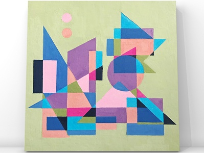 Abstract cityscape in geometric shapes oil painting landscape illustration landscape architectural architecture geometry geometric art geometrical geometric shapes city illustration city branding cityscape cityview graphic design illustration geometric abstract pattern design oil on canvas oil painting oilpainting