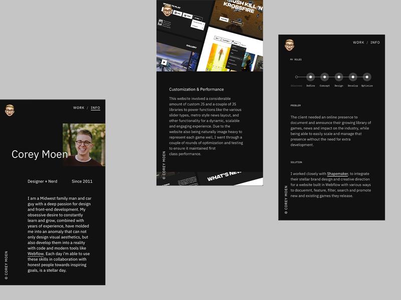 Portfolio Screens branding ux project case studies bio interaction design uiux ui design web design webflow portfolio site portfolio